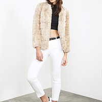 FOREVER 21 Collarless Faux Fur Coat Taupe