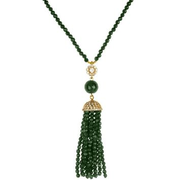 Jade Tassel Necklace White CZ