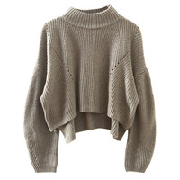 Side Slit High Low Ribbed Knit Sweater