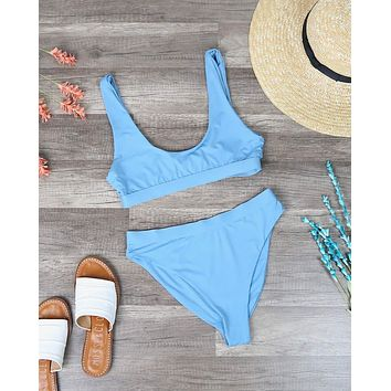 Sporty Swim Top + Banded High Waist Cheeky Bottom Separates - Solid Blue