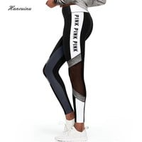 Hancuinu Women's Mesh Patchwork Pink Leggings Pink Letter Print Fitness Pants  Female Sexy Perspective Skinny Workout Leggins