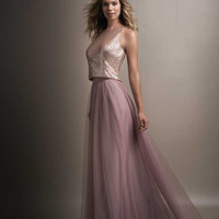 Blush Pink Bridesmaid Dresses Long 2017 Two Pieces Sequins Dress for Girl Maid Of Honor Plus Size Wedding Party Gowns 11161642