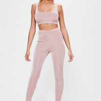 Missguided - Pink Slinky Ribbed Leggings
