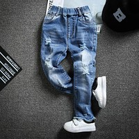 Children's wear boy's jeans Girs baby hole burrs spring cowboy pants 2-8T