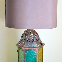 Vintage Glass Morrocan Lantern Lamp Base by RummageLiving on Etsy
