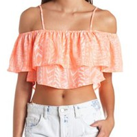 Neon Coral Neon Aztec Off-the-Shoulder Crop Top by Charlotte Russe