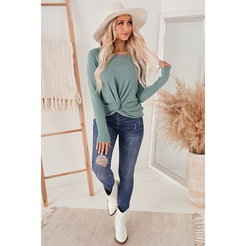 Thankful For You Twist Knot Top (Teal)