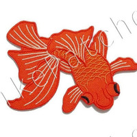 Goldfish Beautiful Charm - Fish Patch - Animal Print New Sew / Iron On Patch Embroidered Applique Size 9.5cm.x6.4cm. #