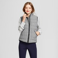 Women's Herringbone Quilted Puffer Vest - A New Day™ Black