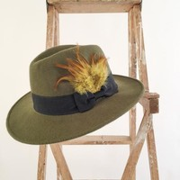 Wide Brim Fedora with Feather