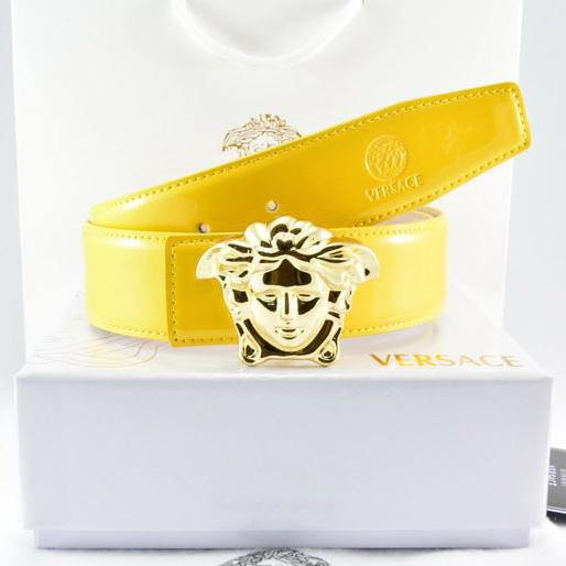 Image of Versace Fashion Smooth Buckle Belt Leather Belt