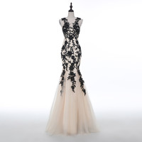 Sexy Champagne Party Prom Dress Long Robe De Soiree 2016 Tulle Black Applique Mermaid Puffy Transparent Evening Gown Vestidos