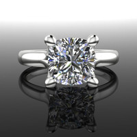 Forever Brilliant Moissanite Solitaire Engagement Ring Cushion Cut 2.0 CTW