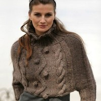 Hand knit Poncho sweater with cables pick the colour Merino wool