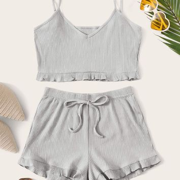 Solid Frill Trim Crop Cami Top With Shorts