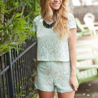 Mint Lace Co Ord Top