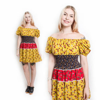 Vintage 60s Dress - Floral Cotton Printed Mini Smocked Off The Shoulder Boho - Small / XS