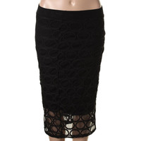 Bar III Womens Bar Table  Lace Lined Pencil Skirt