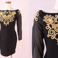 Vintage 80s 90s - Gold Brocade Rhinestone Jewels - Black See Through Sleeves Off the Shoulder Boat Neck - Hour Glass Wiggle Party Dress