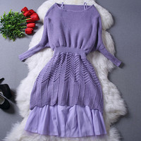 Purple Batwing Sleeve Knit Sweater Mesh Dress