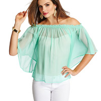 Off-Shoulder Sleeve Chiffon Top