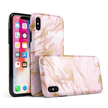 Rose Pink Marble & Digital Gold Frosted Foil V3 - iPhone X Swappable Hybrid Case