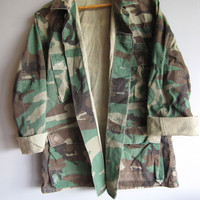 Vintage Camo Combat Hunting Jacket Shirt Camouflage Green Woodland Military S