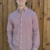 Vineyard Vines Bay Road Gingham Slim Tucker Shirt- Cabernet