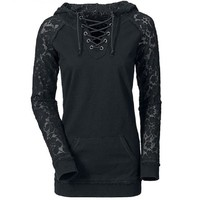 Lace Splicing Lace-Up Women Hoodie