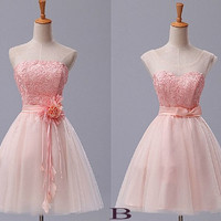 Custom Pink Lace Tulle Short Prom Dresess Evening Dresees Party Dresses Wedding Party Dress Homecoming Dresses Bridesmaid Dresses
