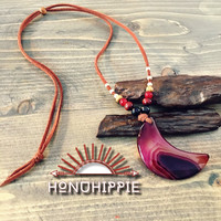 Half moon agate pendant, boho hippie necklace