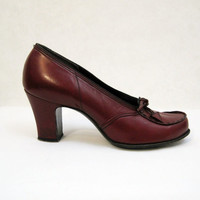 40s 50s Shoes Vintage Pumps Tassel Bow Loafers Red 6 6.5