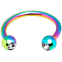 "16 Gauge 3/8"" Rainbow Titanium Horseshoe Circular Barbell 