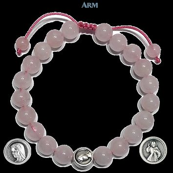 MIRACLE MEDAL | St. Mary | Divine Mercy | Rose Quartz Adjustable Pull-Tie Bracelet