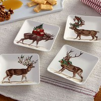 SILLY STAG APPETIZER PLATES, MIXED SET OF 4