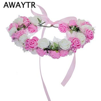 Women Bezel Flowers on Head AWAYTR Girls Flower Crown Wreath Wedding Bridal Hair Accessories Double Foam Rose Floral Headband