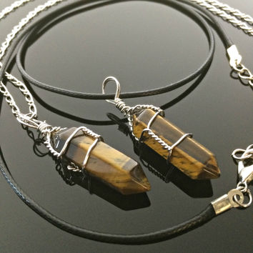 Tigers Eye Necklace Healing Crystal Necklace Wire Wrapped Unisex hipster jewelry hippie
