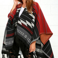 Billabong Seaside Voyage Red Southwest Print Poncho