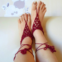 Burgundy Barefoot Sandal, Foot jewelry, Clared Red , Yoga, Anklet , Bellydance, Steampunk, Beach Pool, Wedding, Sexy.