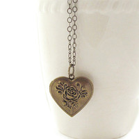 Taylor - Floral Heart Locket Necklace Pendant