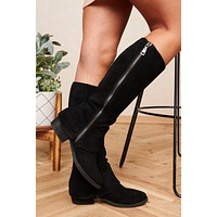 Valley Girl Faux Suede Knee High Boots (Black)