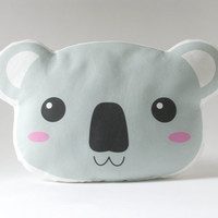 Koala Plush Pillow - Stuffed Koala Face Cushion - Forest Nursery Kids Room Decor