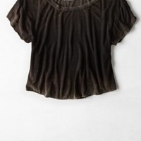 Don't Ask Why Loose Cropped T-Shirt, Navy | American Eagle Outfitters