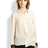 Haute Hippie - Embellished Silk Crossover Blouse - Saks Fifth Avenue Mobile