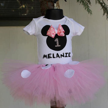Minnie Mouse Inspired Pink and White Polka Dot Custom Birthday Onesuit or Shirt and Tutu Skirt Set