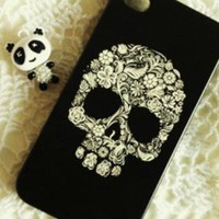 New Chic Floral Skull iPhone 4S Hard Case Cover