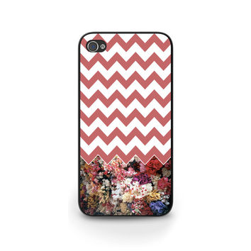 Floral pink chevron phone case, for iPhone 4 5 5c 5s and new iPhone 6, Samsung s4 s5, BlackBerry Z10 Q10, Great gift idea for girls - G041