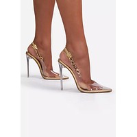 Eily Clear Pointed Toe Chain High Heels