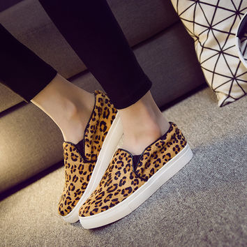 Elegant Causal New Comfortable Shoes Flat Leather Leopard White Casual Thick Crust Plus Size Low-cut Loafer Shoes [4919288196]