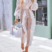 New White Patchwork Grenadine Lace Cascading Ruffle Long Sleeve Sheer Long Clubwear Party Jumpsuit